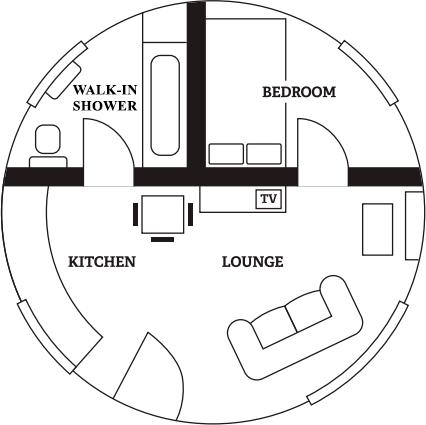 Single roundhouse floorplan